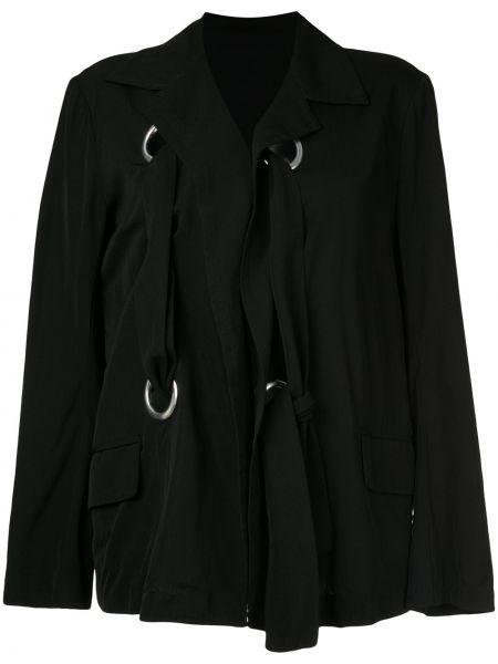 Черная куртка винтажная с поясом с лацканами Yohji Yamamoto Pre-owned