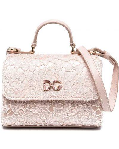 Золотистая розовая кожаная сумка на плечо Dolce & Gabbana Kids
