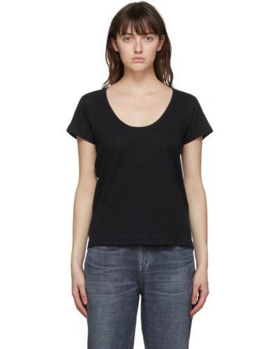 Хлопковая с рукавами черная рубашка Rag & Bone