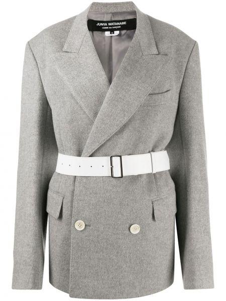 Серое кашемировое длинное пальто двубортное Junya Watanabe