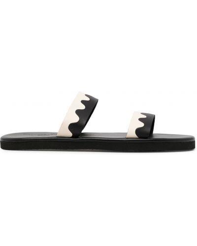 Czarne sandały skorzane płaska podeszwa Ancient Greek Sandals