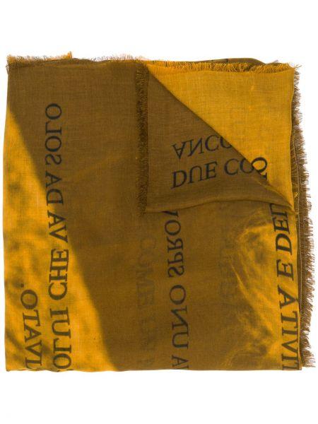 Kaszmir żółty szalik przycięte Faliero Sarti