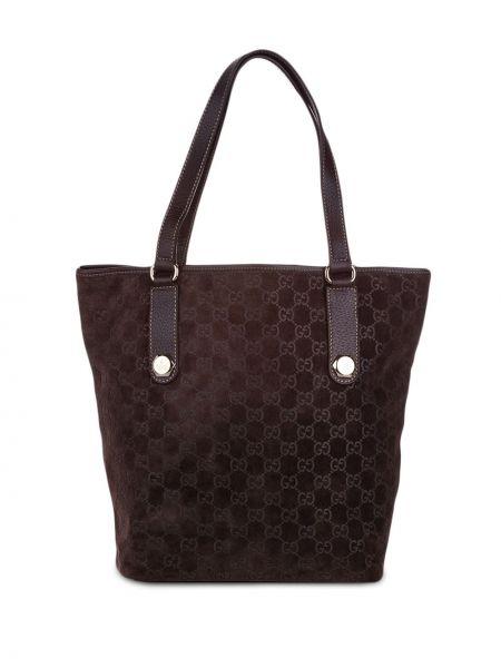 Кожаная коричневая сумка-тоут с подкладкой Gucci Pre-owned