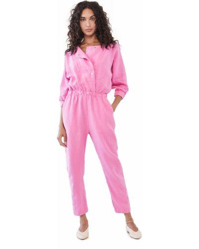 Льняной розовый комбинезон с карманами Rachel Comey