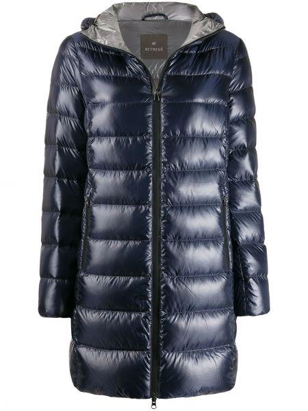 Синее пуховое длинное пальто с капюшоном Hetrego