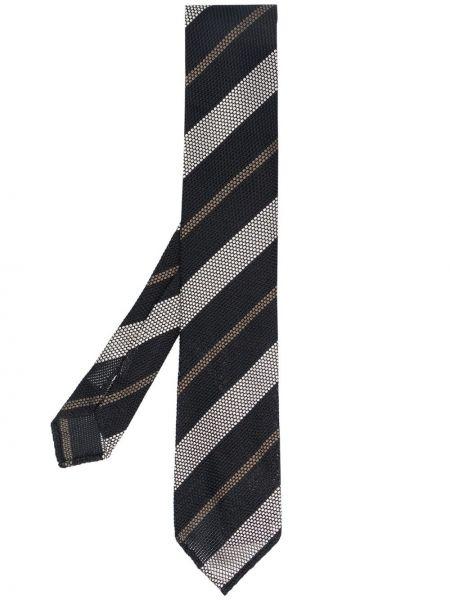 Czarny krawat z jedwabiu Lardini
