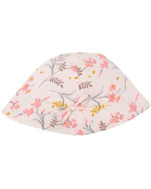 Biały kapelusz bawełniany w kwiaty Bonpoint