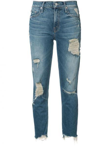 Укороченные джинсы рваные синие Mother