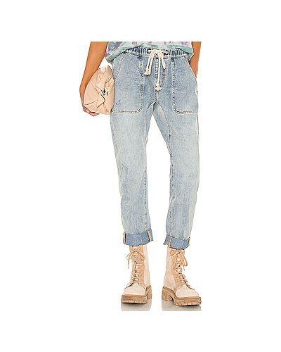 Хлопковые синие джинсы бойфренды на резинке One Teaspoon