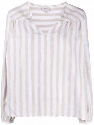 Льняная белая рубашка в полоску Woolrich
