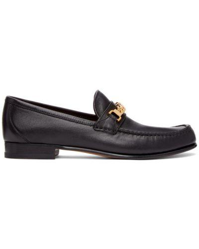 Czarne loafers skorzane kaskadowe Gucci