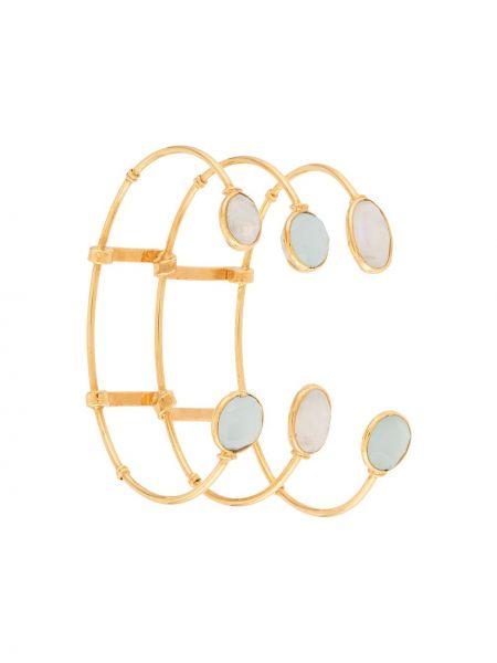 Открытый белый золотой браслет с подвесками металлический Gas Bijoux