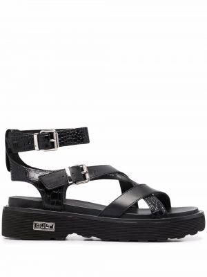 Czarne sandały skorzane peep toe Cult