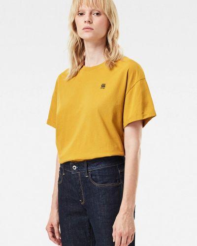 Желтая с рукавами футболка G-star