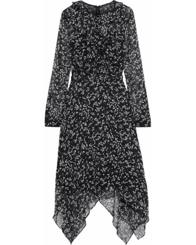 Асимметричное черное платье с поясом Mikael Aghal