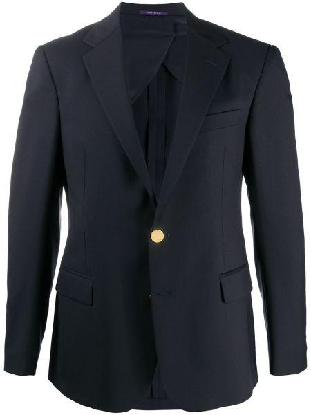 С рукавами синий классический пиджак с карманами Ralph Lauren Purple Label