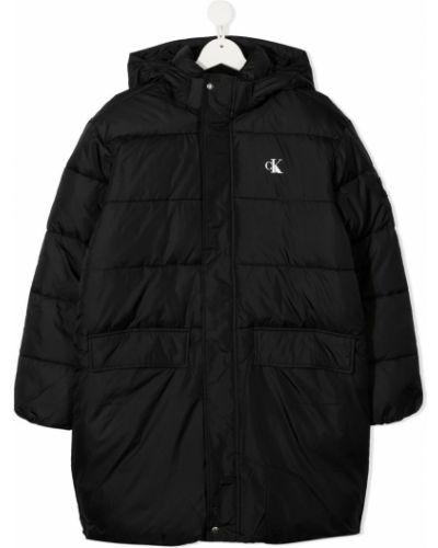 С рукавами классическое черное стеганое пальто Calvin Klein Kids