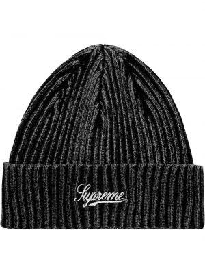 Czarna czapka z haftem Supreme