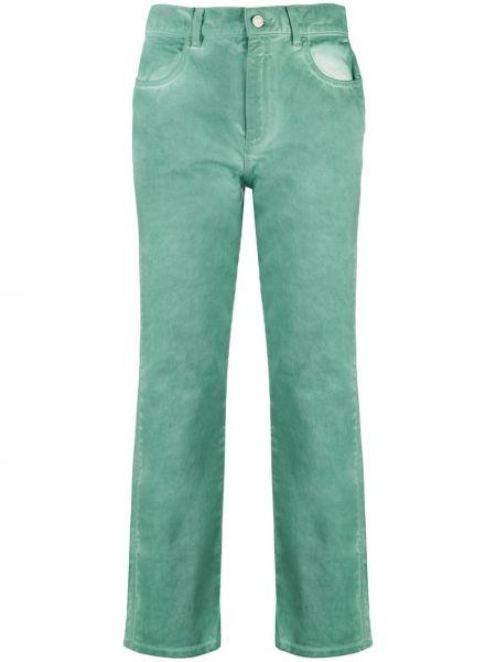 С завышенной талией хлопковые зеленые прямые джинсы на пуговицах Roseanna