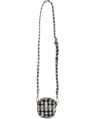 Ażurowa czarna torebka z printem Courreges