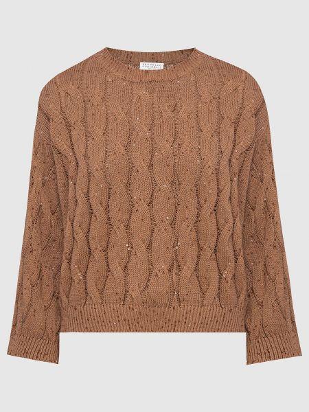 Коричневый свитер Brunello Cucinelli