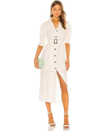 Льняное белое платье с поясом C/meo