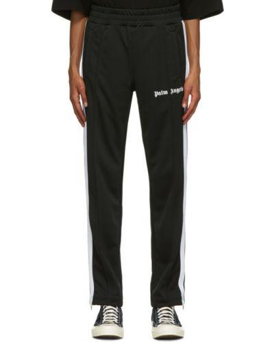 Czarny klasyczne spodnie z kieszeniami z mankietami w paski Palm Angels