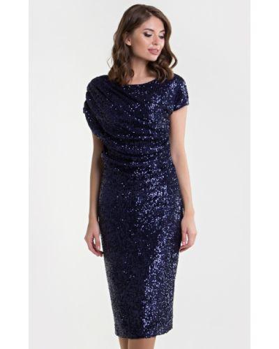 С рукавами трикотажное вечернее платье с пайетками Filigrana