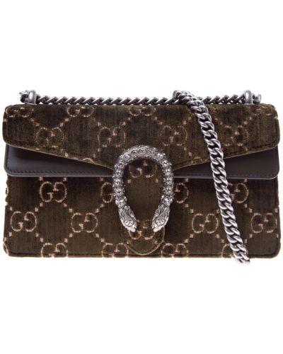 Кожаный сумка с вышивкой с пряжкой Gucci