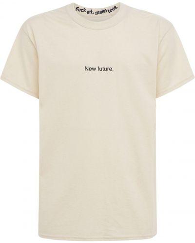 Beżowy t-shirt bawełniany Famt - Fuck Art Make Tees