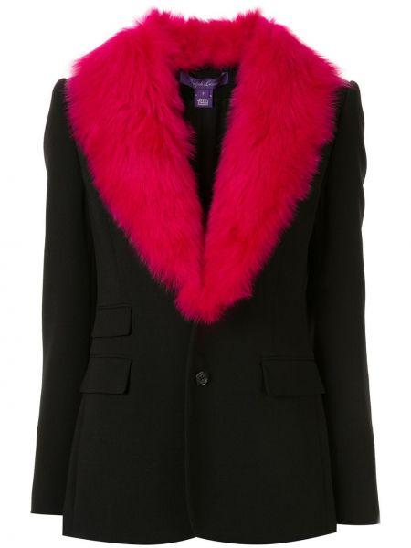 С рукавами черная куртка из искусственного меха Ralph Lauren Collection