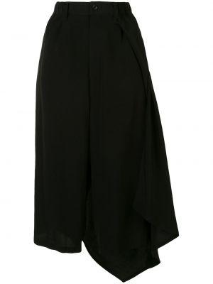 Асимметричная с завышенной талией юбка миди в рубчик с поясом Yohji Yamamoto