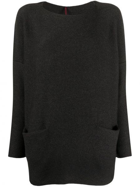 Шерстяной серый вязаный свитер с круглым вырезом Daniela Gregis