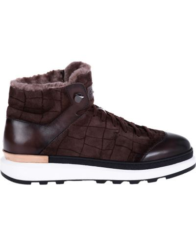 Кожаные ботинки осенние коричневый Santoni