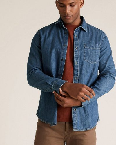 Синяя рубашка с длинными рукавами Marks & Spencer
