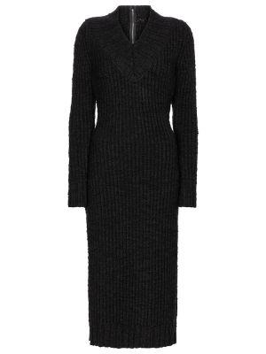 Шерстяное черное платье миди стрейч Dolce & Gabbana