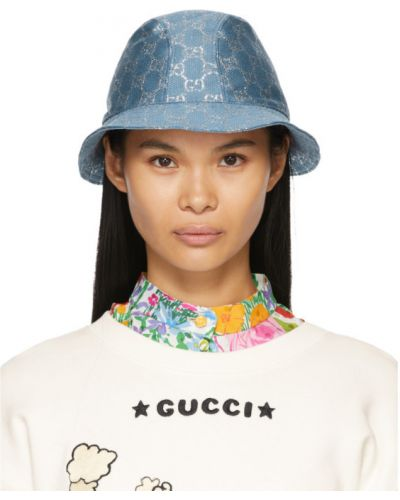 Шерстяная синяя шапка для полных Gucci