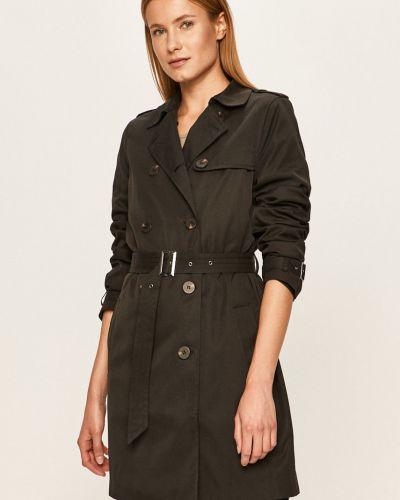 Czarny płaszcz z kapturem zapinane na guziki Vila