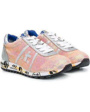 Розовые ажурные кожаные кроссовки на шнурках Premiata Kids