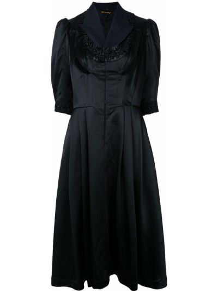 Шелковое черное платье с рукавами винтажное с разрезом Comme Des Garçons Pre-owned