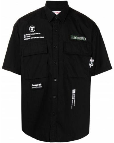 Хлопковая черная рубашка с короткими рукавами Aape By A Bathing Ape