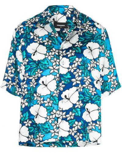 Рубашка в полоску с цветочным принтом гавайская Dsquared2