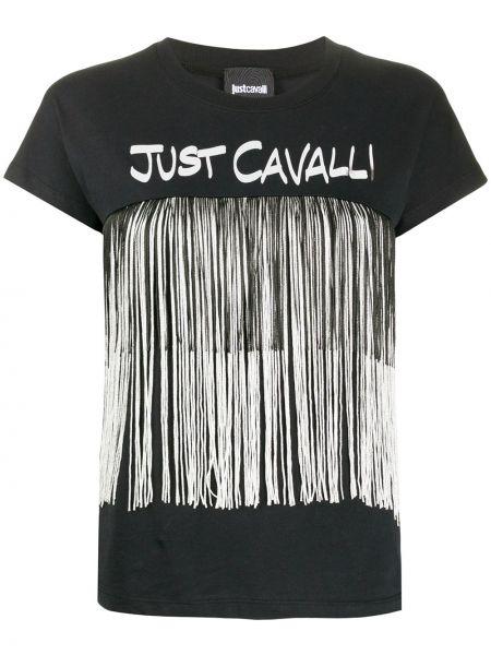 Топ с бахромой черный Just Cavalli