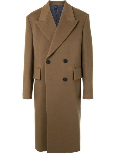 Классическое коричневое шерстяное пальто классическое на пуговицах Wooyoungmi