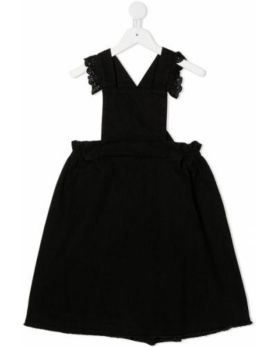 Черное ажурное платье мини с V-образным вырезом с короткими рукавами Wolf & Rita