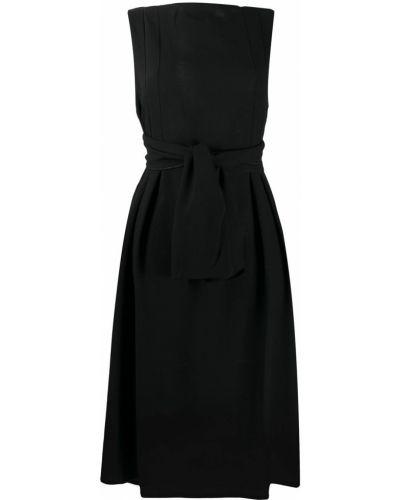 Шерстяное черное платье без рукавов с вырезом Daniela Gregis
