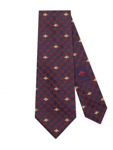 Krawat z printem - niebieski Gucci