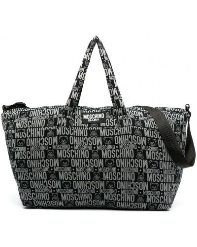 Ватная черная косметичка с карманами Moschino Kids