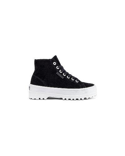 Кроссовки на платформе замшевые черные Superga