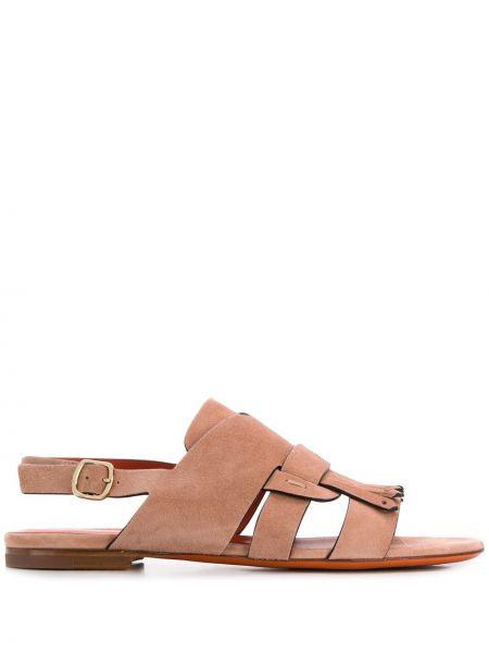Beżowe sandały skorzane na niskim obcasie Santoni